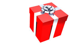 Rendered Red Present with Silver Ribbon Royalty Free Stock Photography