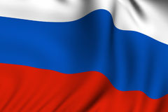 Rendered Russian Flag. Rendering of a waving flag of Russia with accurate colors and design and a fabric texture Stock Image