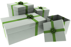 Rendered Silver Presents with Green Bows Royalty Free Stock Photography