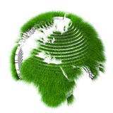 Rendered sliced earth globe covered with grass Stock Image