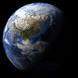 Rendered three dimensional earth. On a black background royalty free illustration