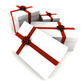 Rendered White Presents with Red Bows Royalty Free Stock Photo