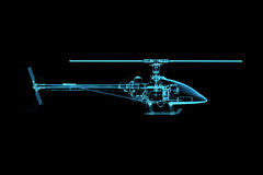 Rendered x-ray transparent blue helicopter Stock Images