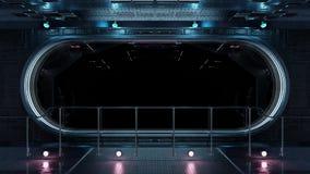 Renderi interior do fundo 3D da janela redonda preta da nave espacial da tecnologia ilustração stock