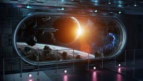 Renderi interior do fundo 3D da janela redonda preta da nave espacial da tecnologia ilustração do vetor