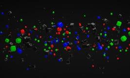 Renderi nano del fondo 3d della particella di tecnologia dell'atomo astratto di RGB Fotografie Stock