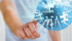 Rendering' commovente della sfera '3D di puzzle di volo dell'uomo d'affari Fotografie Stock Libere da Diritti