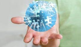 Rendering' della sfera '3D di puzzle di volo della tenuta dell'uomo d'affari Immagine Stock Libera da Diritti