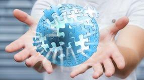 Rendering' della sfera '3D di puzzle di volo della tenuta dell'uomo d'affari Fotografie Stock Libere da Diritti