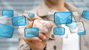 Rendering' digital tocante dos ícones '3D do email do homem de negócios Fotos de Stock Royalty Free