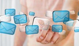Rendering' digital tocante dos ícones '3D do email do homem de negócios Imagens de Stock Royalty Free
