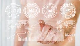 Rendering' numérique émouvant de l'interface '3D de graphique d'homme d'affaires Images libres de droits