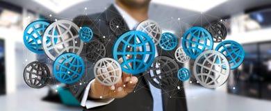 Rendering' numérique émouvant des icônes '3D de Web d'homme d'affaires Photos libres de droits