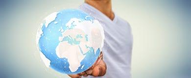 Rendering' tactile numérique émouvant du monde '3D d'homme d'affaires Images stock