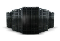 Rendering of 5 server racks. On a white background Royalty Free Stock Images