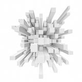 Rendering of abstract cube mosaic in perspective on white background. 3d rendering of abstract cube mosaic in perspective on white background. Computer graphics Royalty Free Stock Photos