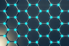 Rendering abstract nanotechnology hexagonal geometric form close-up, concept graphene atomic structure,   molecular . 3d rendering abstract nanotechnology Royalty Free Stock Images