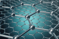 Rendering abstract nanotechnology hexagonal geometric form close-up, concept graphene molecular structure. 3d rendering abstract nanotechnology hexagonal Royalty Free Stock Photography