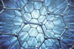 Rendering abstract nanotechnology hexagonal geometric form close-up, concept graphene molecular structure. 3d rendering abstract nanotechnology hexagonal Stock Photo
