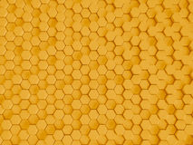 Rendering abstract yellow honeycombs nano background. 3d illustration of yellow plastic hexagonal honeycombs nano background stock illustration