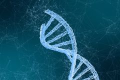 3d rendering, DNA with emanative lines background stock photography