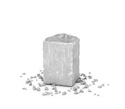 Rendering big rectangular block of gray rock and its chips isolated on white background. Royalty Free Stock Photos