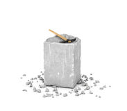 Rendering big rectangular block of gray rock, its chips and pick isolated on white background. 3d rendering of a big rectangular block of gray rock, its chips Royalty Free Stock Photo