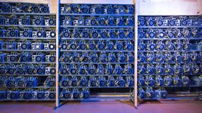 Bitcoin cryptocurrency mining farm. Rendering bitcoin cryptocurrency mining farm background color royalty free stock photo