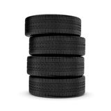 Rendering black tires, isolated on white background. Royalty Free Stock Photography