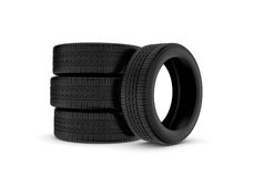 Rendering black tires, isolated on white background. Stock Photography