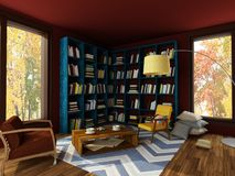 Rendering of bright interior of cozy room in dark colors. Rendering of interior of bright cozy room with dark brown and red walls, blue bookshelves, coffee table vector illustration