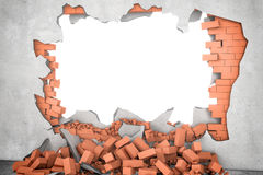 Rendering broken wall with white hole and pile of rusty red bricks beneath. Stock Image