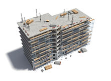 Rendering of building under construction with scaffolding and different equipment. 3d rendering of a building under construction with scaffolding and different Stock Photo