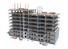 Rendering of building under construction with scaffolding and different equipment. Stock Image