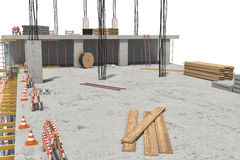 Rendering of building under construction on the white background Stock Image