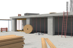 Rendering of building under construction on the white background Royalty Free Stock Photography
