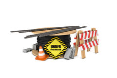 Rendering of cable drum with under construction sign, metal bars, wooden barrier, traffic cones and concrete blocks Royalty Free Stock Image