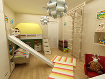 Rendering - children room with two beds Royalty Free Stock Photo