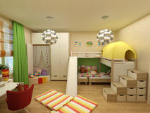 Rendering - children room with two beds Stock Image