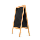Rendering of clean black chalkboard easel in the wooden frame isolated on white background Royalty Free Stock Photography