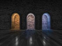 rendering 3 color light of stone arch door Royalty Free Stock Images