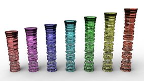 Rendering of colored glass columns Stock Photos