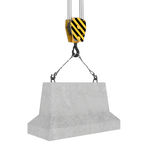 Rendering of concrete block hanging on hook with two ropes. 3d rendering of concrete block hanging on a hook with two ropes isolated on the white background Royalty Free Stock Photos