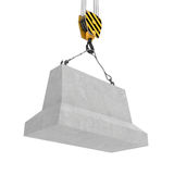 Rendering of concrete block hanging on hook with two ropes. 3d rendering of concrete block hanging on a hook with two ropes isolated on the white background Stock Photo