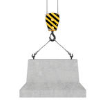 Rendering of concrete block hanging on hook with two ropes. 3d rendering of concrete block hanging on a hook with two ropes isolated on the white background Royalty Free Stock Images