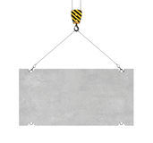 Rendering of concrete slab hanging on hook with two ropes Royalty Free Stock Image