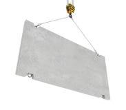 Rendering of concrete slab hanging on hook with two ropes. 3d rendering of concrete slab hanging on a hook with two ropes isolated on the white background Stock Photo