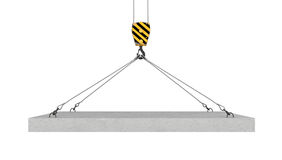 Rendering of crane hook lifting concrete panel on the white background royalty free illustration