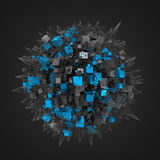 Rendering of Cubes with Chaotic Structure. Abstract 3d rendering of cubes with chaotic structure. Dark background with wireframe and globe in empty space Royalty Free Stock Photography