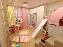Rendering 3D Classic children room Stock Photos